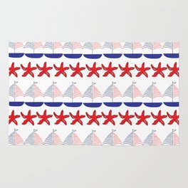 Nautical Pattern Small Sailboats and Starfishes Rug