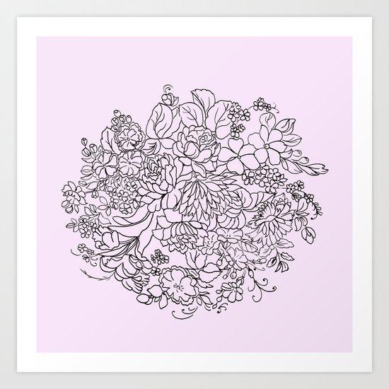 arrangement of flowers and leaves Art Print