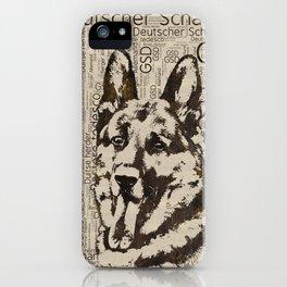 German Shepherd Dog - Wooden Texture  on Canvas iPhone Case