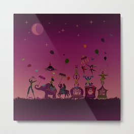 colorful circus carnival traveling in one row at night Metal Print