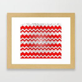 Red White Stripe Patchy Marble Pattern Framed Art Print