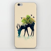 green iPhone & iPod Skins featuring Watering (A Life Into Itself) by Picomodi
