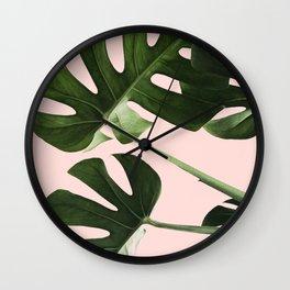 Monstera x Pink Wall Clock