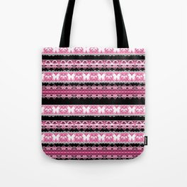 Black and pink striped pattern . Tote Bag