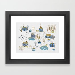 BLUE VILLAGE Framed Art Print