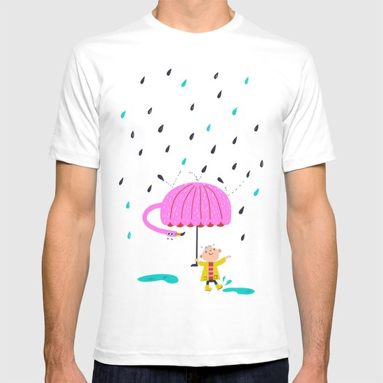 one of the many uses of a flamingo - umbrella T-shirt
