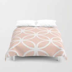 Peach Geometric Circles Duvet Cover