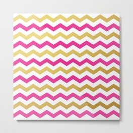 Pink and Gold Chevron Pattern Metal Print
