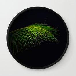 Single Tropical Palm Tree Branch Leaf Wall Clock