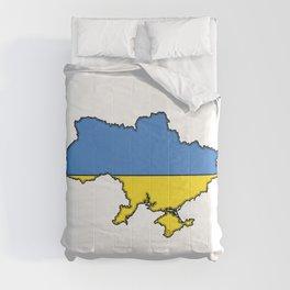 Ukraine Map with Ukrainian Flag Comforters