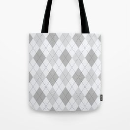 Light Gray Argyle Pattern Tote Bag