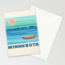 Minnesota travel poster retro vibes 1970's style throwback retro art state usa prints Stationery Cards