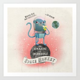 space monkey cream Art Print