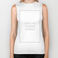 persona Biker Tanks featuring SONO UNA PERSONA PERBERE (LG) by Ernesto Cecco D'Ortona