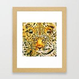 Great leopard head Framed Art Print