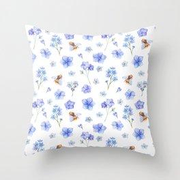 Elegant lavender brown watercolor honey bee floral Throw Pillow