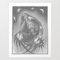 Art Print featuring Spirit Raven by C. Dunning