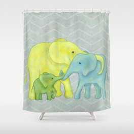 Elephant Family of Three in Yellow, Blue and Green Shower Curtain
