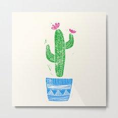 Linocut Cacti #2 in a pot Metal Print