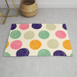 Palette of Colorful, Textured Paint Circles Pattern Rug