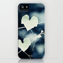 Heart Love Nature Photography, Hearts Botanical Print, Navy Blue Green Photograph, Bedroom Photo iPhone Case
