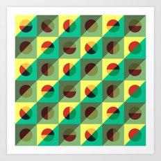 Mint circles & squares Art Print
