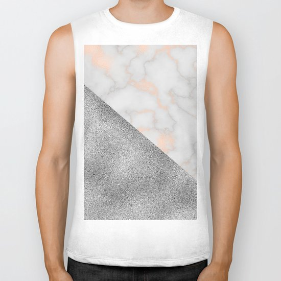 Rose gold marble and silver glitter Biker Tank