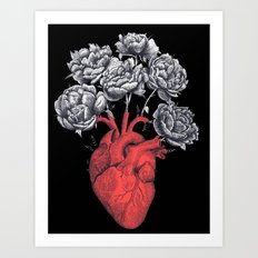 Heart with peonies on black Art Print