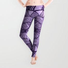 Grape Tangled Mania Pattern Doodle Design Leggings