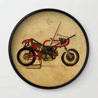 ducati Wall Clocks featuring Ducati 750SS Corsa 1974 by Larsson Stevensem