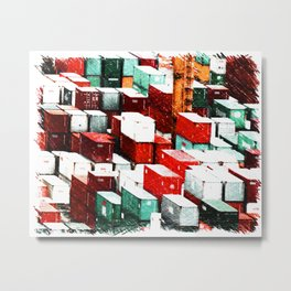 Mint Red Shipping Containers  Metal Print