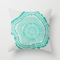 tree rings Throw Pillows featuring Turquoise Tree Rings by Cat Coquillette