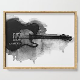 black and white electric guitar Serving Tray