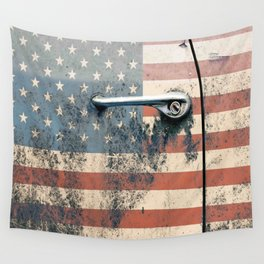 Door old car and falg USA America Wall Tapestry