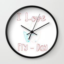 I Loe Fry Day outline Wall Clock