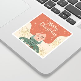 Redhead Woman Christmas Sticker