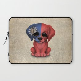 Cute Puppy Dog with flag of Taiwan Laptop Sleeve