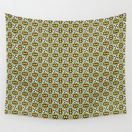 Barcelona cement tile in yellow, brown and blue Wall Tapestry