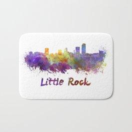 Little Rock skyline in watercolor Bath Mat