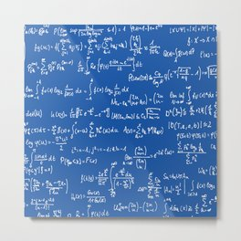Math Equations // Royal Blue Metal Print