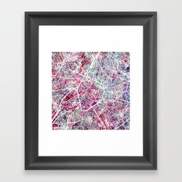 Brussels Map Framed Art Print