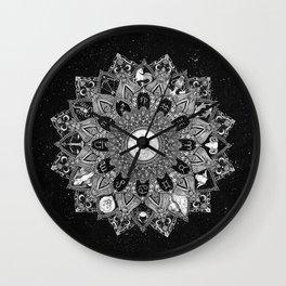 Zodiac Signs Mandala with Starry Background Wall Clock