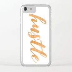 Hustle Text - Copper Bronze Gold and Navy Typography Quote Clear iPhone Case