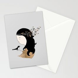Girl with magpie Stationery Cards