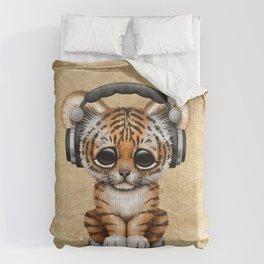 Cute Tiger Cub Dj Wearing Headphones Comforters