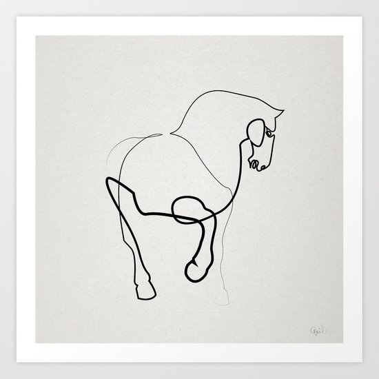 Single Line Art Print : One line horse after a tang dynasty tomb pottery art