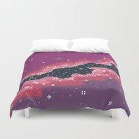 8bit Duvet Covers featuring Pink Rift Galaxy (8bit) by Sarajea