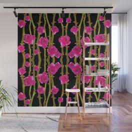 "FUCHSIA PINK ""ROSES & THORNS""  BLACK ART PATTERNS Wall Mural"