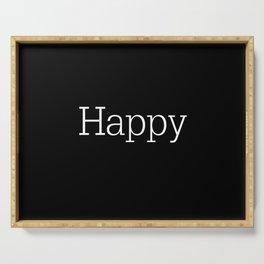 HAPPY! Black & White Serving Tray