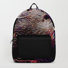 fish otter on a rock vector art purple white Backpack